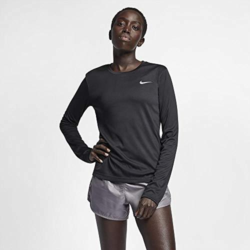 Nike W Nk Miler Top LS, T-Shirt A Manica Lunga Donna, Black/(Reflective Silv), 2XL