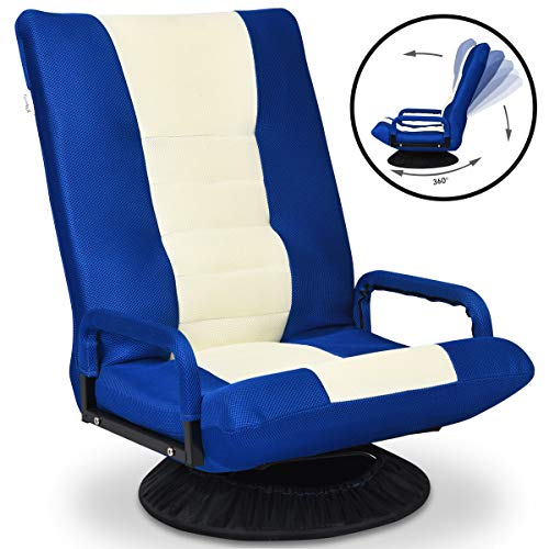 COSTWAY Bodenstuhl 360°drehbar, Bodensessel mit Verstellbarer Rückenlehne, Gamer Sessel gepolstert, Meditationsstuhl bis 100kg belastbar, Lazy Sofa 55 x 65 x 76 cm (Blau)