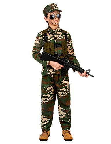 KULTFAKTOR GmbH Gefährlicher Soldat Kinderkostüm Militär grün-braun 134/140 (10-12 Jahre)
