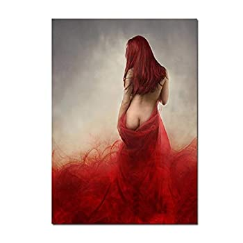 DIY Oil Painting Paint by Number Kits Naked Woman in Red Sexy Dress Painting for Adults and Kids Arts Craft for Home Wall Decor 16X20Inch