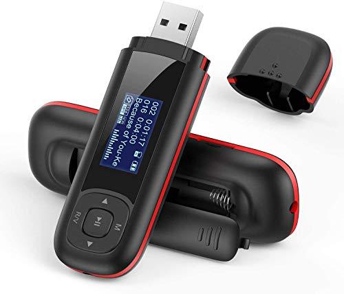 AGPTEK Lecteur Mp3 USB 8Go avec Ecran LCD, Mini Lecteur Musique Baladeur Léger pour Le Sport, 10H Autonomie de Lecture Musicale(sans Ecouteurs Inclus)-U3 Noir et Rouge
