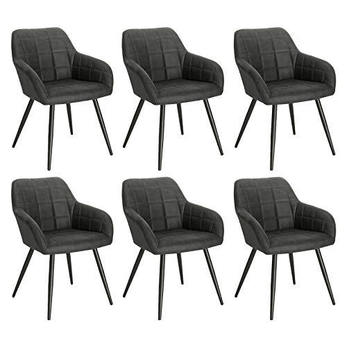 WOLTU 6 x Esszimmerstühle 6er Set Esszimmerstuhl Küchenstuhl Polsterstuhl Design Stuhl mit Armlehne, mit Sitzfläche aus Stoffbezug, Gestell aus Metall, Dunkelgrau, BH224dgr-6