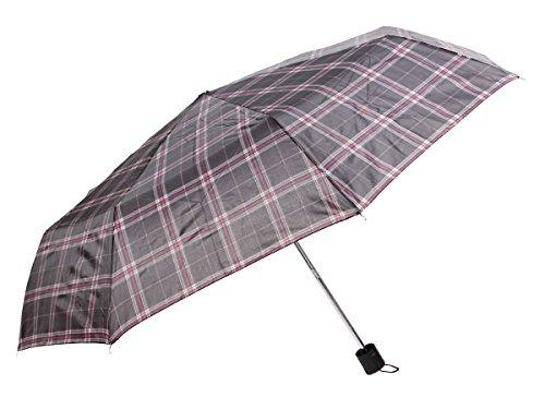 Paraplu, inklapbaar, modern, zeer robuust, bestand tegen grote wind, winter, heren en dames, regen. Queen 61/1956 Gris Pink Carreaux
