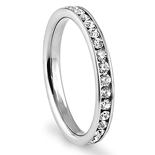 Metal Factory 316L Stainless Steel White Cubic Zirconia CZ Eternity Wedding 3MM Band Ring Sz 8