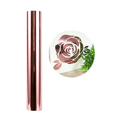 Holographic Craft Vinyl Chrome Rose Gold Vinyl Roll  Huge Glossy Adhesive Permanent Rose Gold Vinyl Rolls  1x5FT Vinyl Works with Cricut and Other Cutters