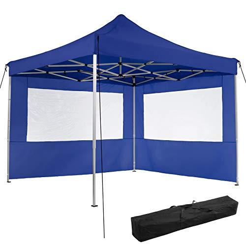TecTake 800685 Aluminium Faltpavillon 3 x 3 m, klappbar, 100{fbe6a963de922e85a8d95a2c7f389302bd3f48cea0749bf38178d082b78089ae} WASSERDICHT, höhenverstellbar, mit 2 Seitenwänden, inkl. Spannseile, Heringe und Tasche – Diverse Farben - (Blau | Nr. 403150)