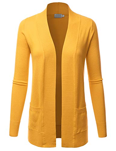 LALABEE Women's Open Front Pockets Knit Long Sleeve Sweater Cardigan-Yellow_B-M