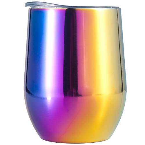 Copa de Vino de Acero Inoxidable Copas De Cóctel Vaso de Vino con Aislamiento al Vacío Copa de Doble Pared con Tapa para Vino, Té, Café, Cócteles, Leche, Helado [12 oz.]