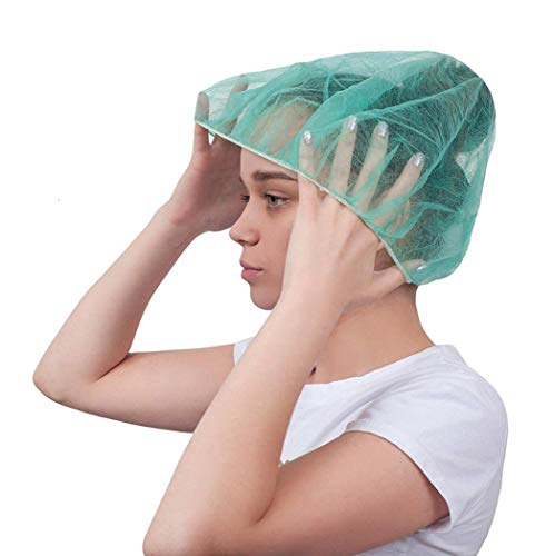 """ABC Pack of 100 Green Mob Caps 21"""" Hair Caps with Elastic Stretch Band Disposable Polypropylene Hair Cover Caps Unisex Hair Covers for Food Service Breathable Lightweight, Wholesale Price"""