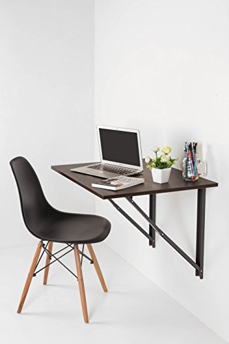 INVISIBLE BED Folding Wall Mounted Study Desk, Foldable Laptop/Office Table (Dark Walnut - 67.5cm x 56cm)