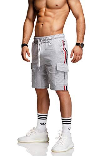 behype. Herren Sweat-Shorts Kurze Hose Sport-Hose Jogging-Hose Trainings-Hose Freizeit Side-Stripe 60-8110 Hellgrau L