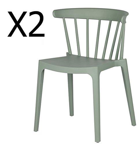 PEGANE Lot de 2 chaises de Jardin en Plastique Coloris Vert Jade - Dim : H 75 x L 52 x P 53 cm