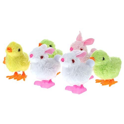 STOBOK Juguetes de Mecanismo para Niños 6 Piezas de Colores Al Azar Adorables con Forma de Pollitos Y Conejitos Juguetes para Despertar| 8X7. 5X5cm