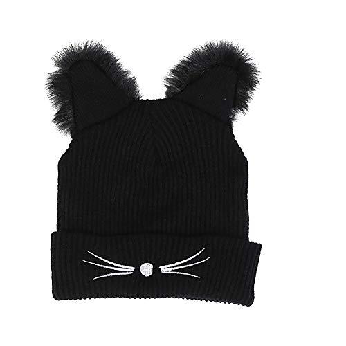 Isuper Damen und Mädchen Nette Strickmütze Katzenohren Hut warme Winter Mütze aus Wolle, Schwarz