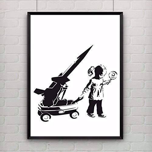 Poster De Impresion De Arte Pintura De Lona Cuadro De Pared,Banksy Pintura En Tela,Chica Y Vagón De Guerra Resumen Graffiti Art Poster Lienzo De Pared Art Fotos Salón Decoracion Ningún Marco Bás