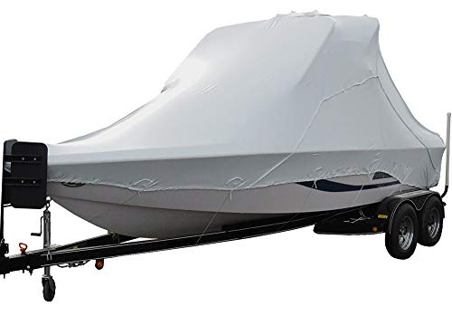 TRANSHIELD Waterproof Over The Wake Tower Boat Cover for Storage | Fits Vhull and Wide Bow Styles (Sizes 23 ft, 24 ft, 25 ft, 26 ft, 27 ft) (V Bow, 25 ft - 27 ft)