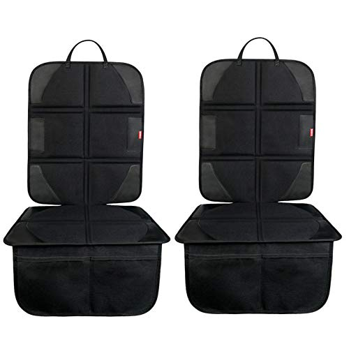 BANNIO Car Seat Protector, (2 Pack) Waterproof 600D Car Seat Protector for Child Car Seat with Organizer Pockets,Leather Seat Protector with Thickest Padding for Baby and Pet,Black