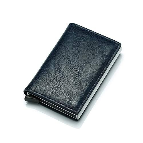 Glqwe Rfid Kaarthouder Mannen Portemonnees Geld Tas Mannelijke Vintage Zwart Korte Handtas Kleine Leer Slanke Portemonnees Mini Portemonnees Dun