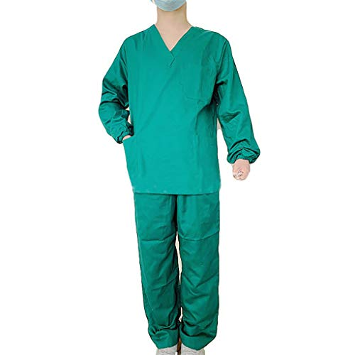 Zilosconcy Arbeitskleidung Langarm Tops + Hosen mit Tasche Pflege Set Unisex Arzt Berufsbekleidung Krankenschwester Kleidung Damen Uniformen V-Ausschnitt Oberteil GrünXL