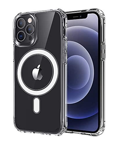 ICOVERI Funda Compatible con iPhone 12 Pro MAX, Magnética, Compatible con Accesorios MagSafe y Carga Inalámbrica, Hibrida, Transparente.