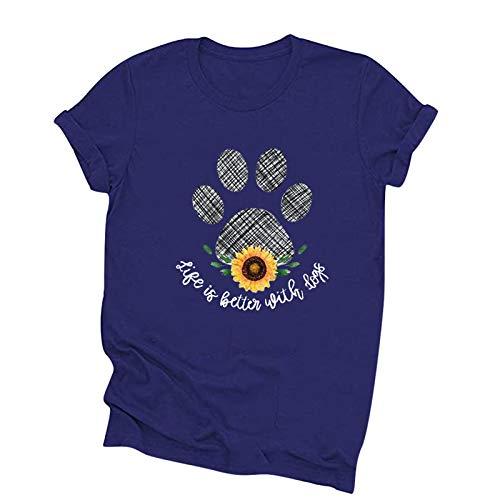 NICOOD Damen Lässig Rundhals Kurzarm T-Shirt, Hundepfote Sonnenblumen Print Mode Top