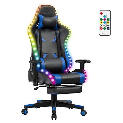 COSTWAY 360°drehbarer Gaming Stuhl mit 358 Lichtmodi, PC Stuhl mit Verstellbarer Armlehne, Rückenlehne und Fußstütze, Racingstuhl inkl. Fernbedienung, Kopf- und Lendenwirbelkissen (Blau)