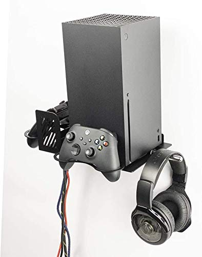 Borangame, Wandhalterung, Spielkonsolentisch für XBOX Series X, vertikal Befestigung, Controllerhalterung und Headset-Halterung, Ständer in pulverbeschichtetem Eisen,...