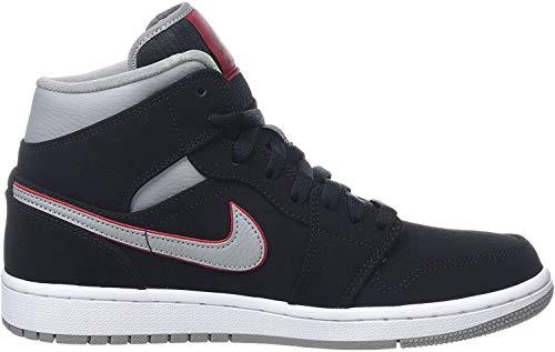 Nike Herren AIR Jordan 1 MID Basketballschuhe, Schwarz (Black/Particle Grey/White/Gym Red 060), 46 EU