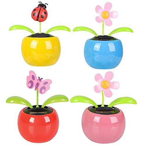 ArtCreativity Solar Toys for Kids, Set of 4, Solar Powered Dancing Flower Toys with Adhesive Stickers, Colorful Assorted Designs, Cute Window and Car Dashboard Decorations, Kids' Party Favors