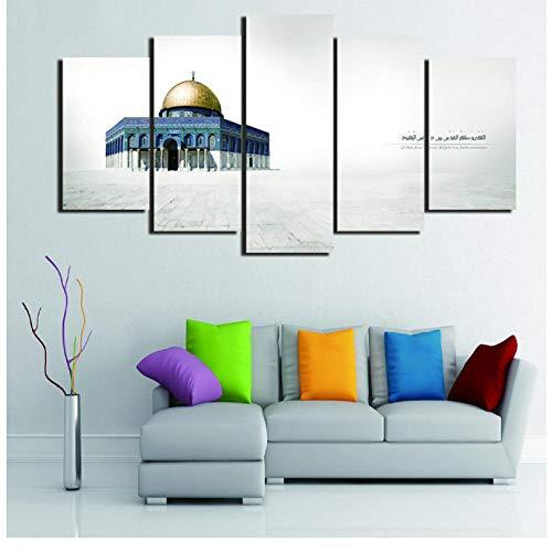 QIDINGUSA HD Printed Living Room Canvas 5 pcs Jerusalem Al-Aqsa Mosque Painting Wall Art Poster Home Decor Pictures 30x40cmx2 30x60cmx2 30x80cmx1 Unframed Wall Art Cuadros Tableaux Muraux