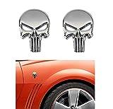 2-Pack Skeleton Skull Logo Emblem Badge 3D Metal Decals Stickers Decoration Cars,Trucks,Motorcycle