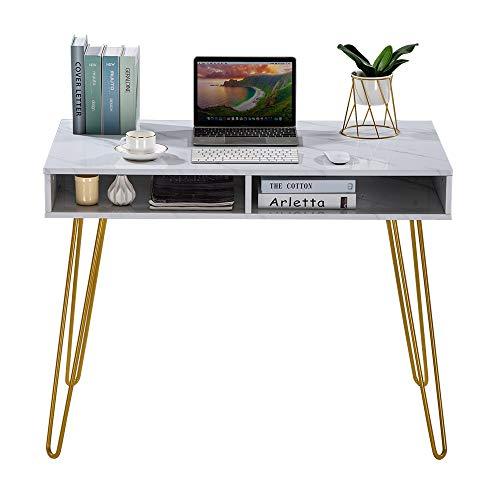 HNWNJ (Super escritorio con taquillas, escritorio moderno para ordenador, tocador, con patas de hierro de mármol, blanco [103 x 55 x 80 cm)
