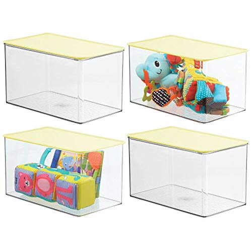 mDesign Stackable Closet Plastic Storage Box with Lid - Container for Organizing Child's/Kids Toys, Action Figures, Crayons, Markers, Building Blocks, Puzzles, Crafts, 4 Pack - Clear/Light Yellow