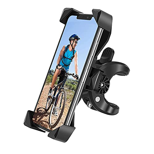 Universal Bike Phone Holder, 360 Degree Rotatable Adjustable Bike Phone Mount, Bicycle Motorcycle Cell Phone Holder with Clamps for 4.7-7 Inch Smartphone, One-Button Switch