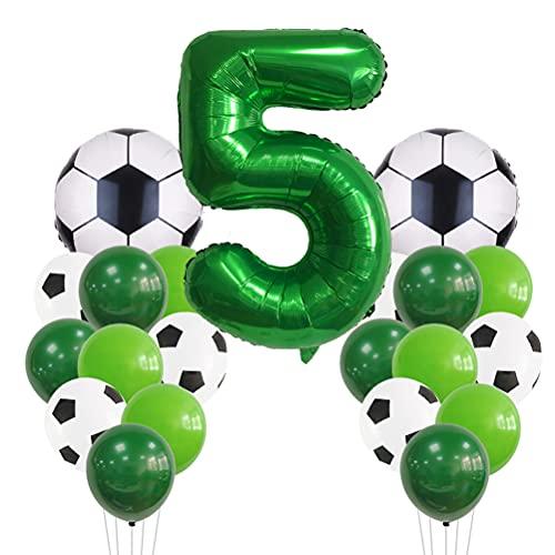 MiaLover Globo de fútbol grande para cumpleaños de 5 años, decoración de cumpleaños infantil, número 5, globos verdes para niños, globos temáticos de fútbol, decoración de cumpleaños