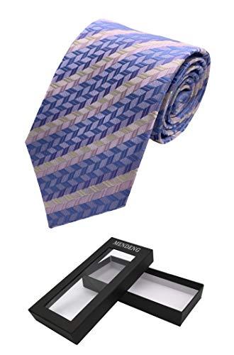 MENDENG Mens Classic Light Blue Striped Jacquard Woven Silk Tie Necktie Gift Box