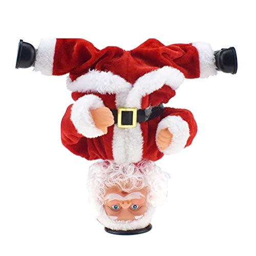 J-ouuo Christmas Santa Claus Ornament Rotating Handstand Dancing and Singing Doll Santa Musical Santa Claus Toy Christmas Decoration