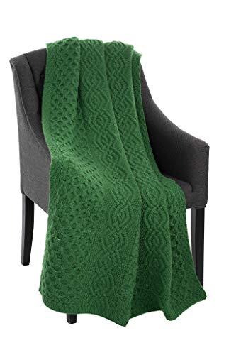 SAOL 100% Merinowolle Wabenmuster Warme und Weiche Aran Decke in Natur/Grün, 60 x 40 Zoll (Grün)