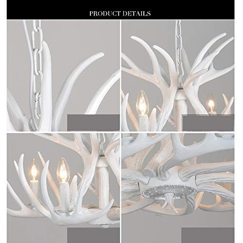 White Antler Chandelier Lighting Rustic Resin 25.5