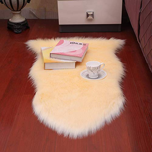 N-B Soft Faux Sheepskin Fur Chair Sofa Cover, White Area Carpet, for Bedroom Floor Sofa Living Room