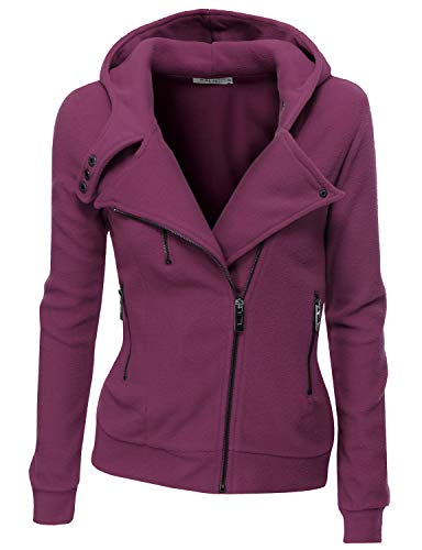 Doublju Fleece Zip-Up High Neck Jacket for Women with Plus Size Violet Small