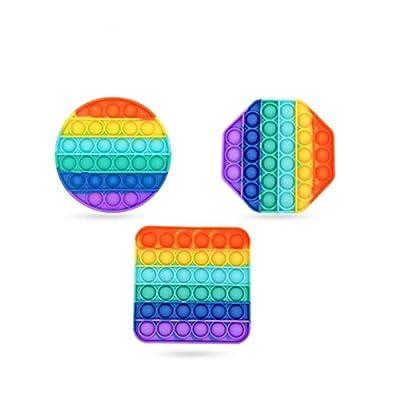 Juguete sensorial Push Pop Bubble Fidget de 3 piezas, coloridos juguetes de silicona para aliviar el estrés, para el hogar, la oficina, la fiesta, el juego entre padres e hijos y otras ocasiones de Joyiever