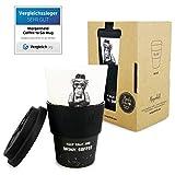 Morgenheld ☀ Dein trendiger Bambusbecher | umweltfreundlicher Coffee-to-Go-Becher | nachhaltiger Kaffeebecher mit Silikondeckel und Banderole in coolem Design 400 ml Füllmenge (Monkey) - 4