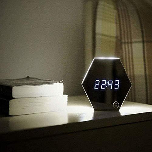 Reloj de escritorio Multi-función Espejo Despertador Termómetro de luz digital LED Espejo de maquillaje Pequeña luz de noche Mesa Mesa recargable Lámpara de escritorio 13713735mm-Oro
