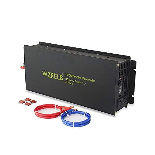 WZRELB Power Inverter 1500W Pure Sine Wave Inverter 24V 120V Dc AC Converter