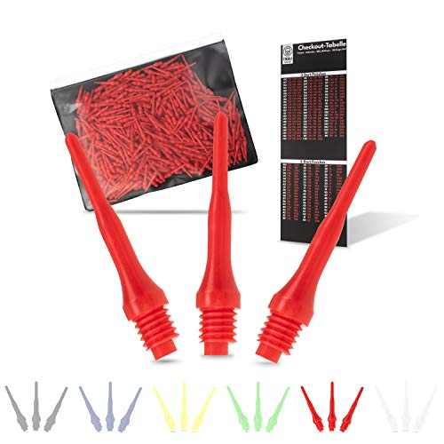 Tindola MAX Dartspitzen Kunststoff, Rote Soft Dart Spitzen Plastik kurz, Darts Spitzen Pfeile 2BA