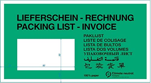 "ÖKO-Dokumententasche""Lieferschein/Rechnung"" 240 x 130 mm DIN Lang grün Pergaminpapier ** Verpackungseinheit: 1000 Stück **"