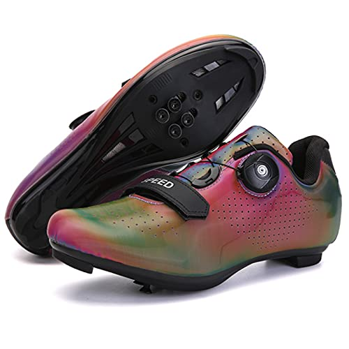 AGYE Cycling Shoes Men Road Bike,Women Bike Cycling Shoes- Spin Shoestring with Compatible SPD Lock Delta Cycle Riding Peloton Shoes,Red-39