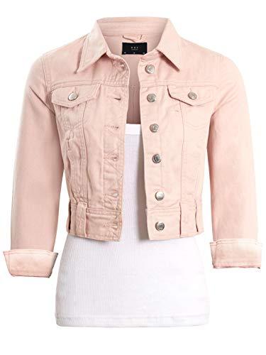 SS7 Womens breve lunghezza Denim Jacket in rosa pallido Rosa pallido 44