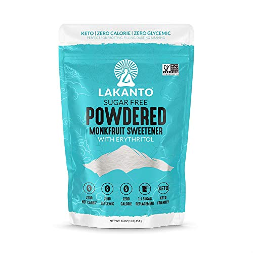 Lakanto Powdered Monkfruit Sweetener - 1:1 Powdered Sugar Substitute, Zero Calorie, Keto Diet Friendly, Zero Net Carbs, Zero Glycemic, Baking, Extract, Sugar Replacement (1 Lb)